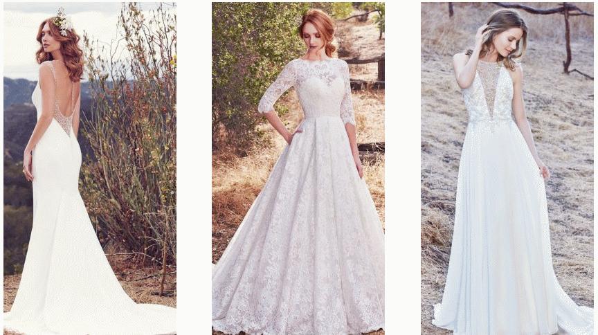 cae5cd9589 Továbbra is trendik lesznek az egyenes fazonú esélyi ihlette menyasszonyi  ruhák, csak ezúttal fátyol helyett palásttal.
