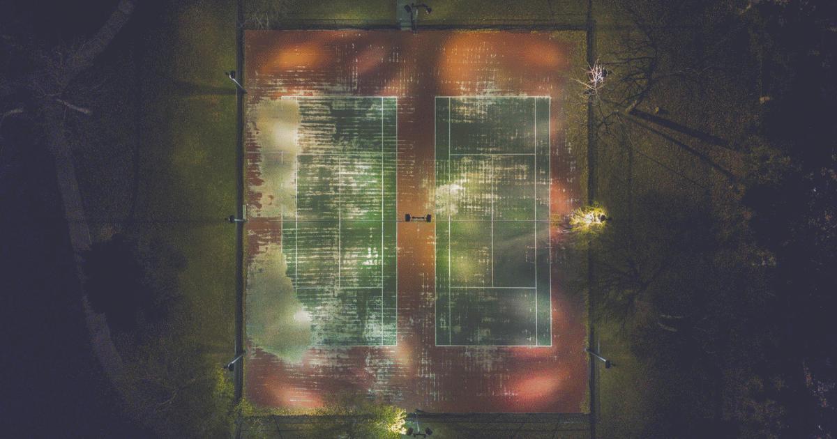 Teniszpályák felülről.
